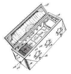 Combined burial casket grave vintage vector
