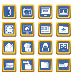 Criminal activity icons set blue vector