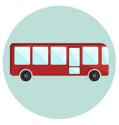 Cute colorful red bus icon vector