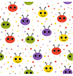 cute seamless pattern with happy smiling beetles vector image
