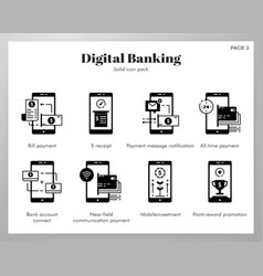 Digital banking icons solid pack vector