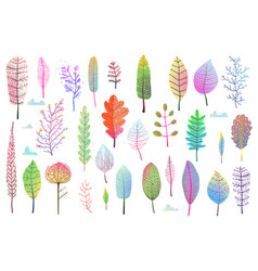 Fall leaves colorful design collection isolated vector