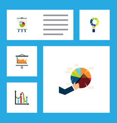 flat icon diagram set of chart easel diagram and vector image