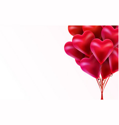 flying bunch red balloon hearts happy vector image
