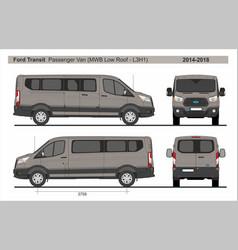 Ford transit passenger van mwb l3h1 2014-2018 vector