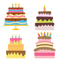 four sweet birthday cake with burning candles vector image