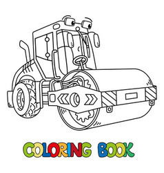 Funny asphalt compactor car with eye coloring book vector