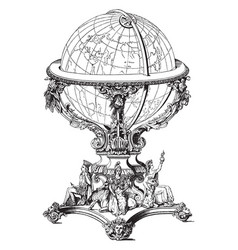 Globe or carved work of art vintage engraving vector