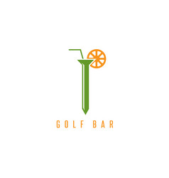 Golf tee with straw and lemon design template vector