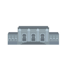Grey facade historical building icon flat style vector