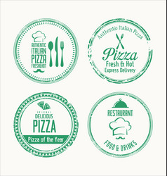 grunge label set for restaurant and pizzeria vector image
