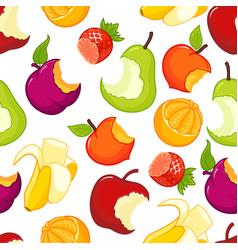 half eaten fruits seamless pattern vector image
