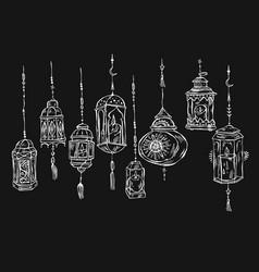 hand drawn ramadan kareem and mosque background vector image