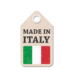 hang tag made in italy with flag vector image