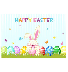 Happy easter day eggs and rabbit on the vector