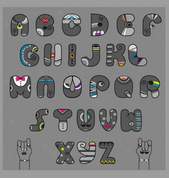 Hipster alphabet funny gray artistic font vector