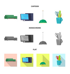isolated object of furniture and work icon vector image