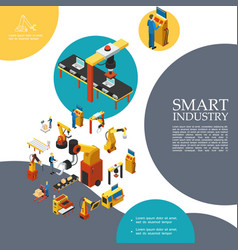 Isometric smart industry colorful template vector