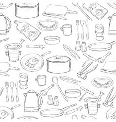 kitchen equipment pattern vector image