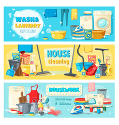 Laundry cleaning tools housework services banners vector