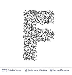 letter f symbol of white leaves vector image