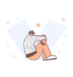 Mental disoder man sitting on floor vector