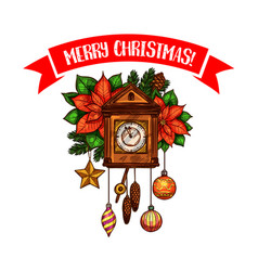 Merry christmas greeting clock sketch icon vector