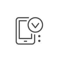 mobile approving line icon vector image