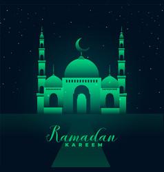 mosque silhouette with green lights ramadan kareem vector image
