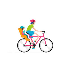 mother with baby riding on bicycle vector image