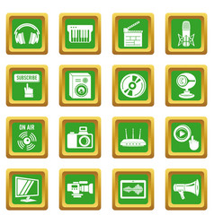 multimedia internet icons set green square vector image