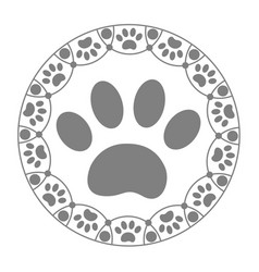 Paw print dog cat icon vector