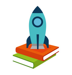 pile text books with rocket vector image