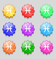 Pisces zodiac sign icon sign symbol on nine wavy vector