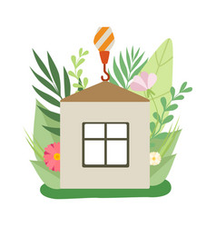 process building house small cottage under vector image