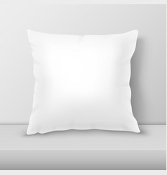realistic 3d white pillow closeup on table vector image