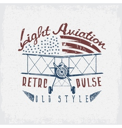 Retro aviation grunge design with airplane and vector