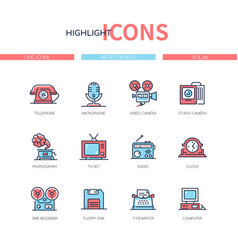 retro devices - line design style icons set vector image