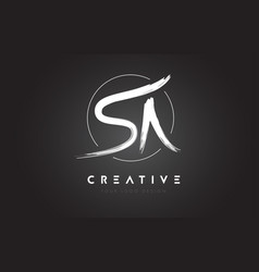 sa brush letter logo design artistic handwritten vector image