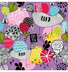 Seamless background with bright hand drawn vector image