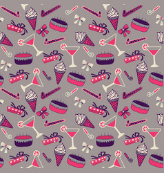seamless birthday pattern with champagne and cake vector image