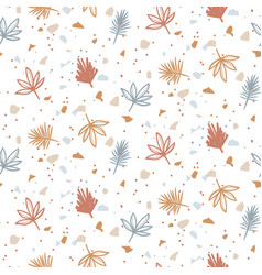 Seamless pattern with plants and terrazzo vector