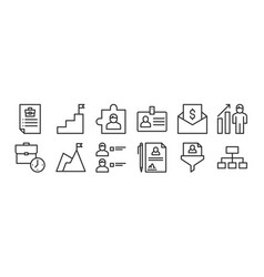 Set 12 thin outline icons such as hierarchical vector