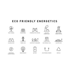 set green energy thin line icons icons for vector image