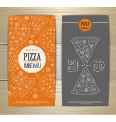 Set of banners with pizza Sketch vector image