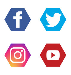 Social icons set fb twitter instagram youtube vector