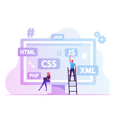 software development concept programmers make vector image