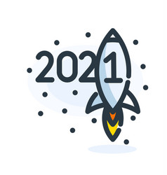 spaceship sign for 2021 year calendar 2021 happy vector image