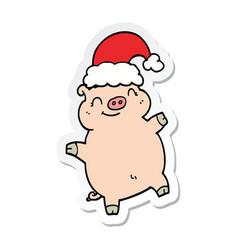 sticker of a cartoon happy christmas pig vector image