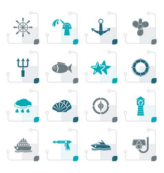 Stylized marine and sea icons vector